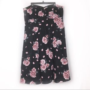 Torrid strapless black floral dress
